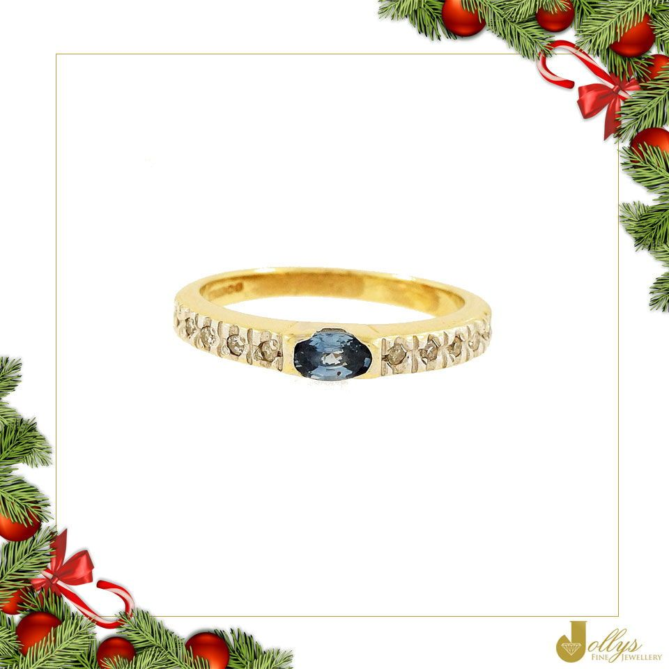 9Ct Yellow Gold Blue Topaz Solitaire W/ Diamond Accents