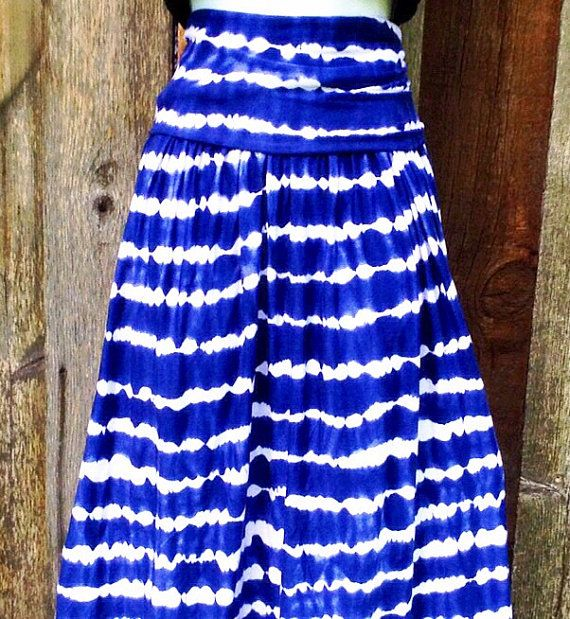 Navy Blue Skirt, Tie dye Maxi Skirt,  XLong Skirt, in XS, S, M, L, XL by Phatcatpatch, $45.49