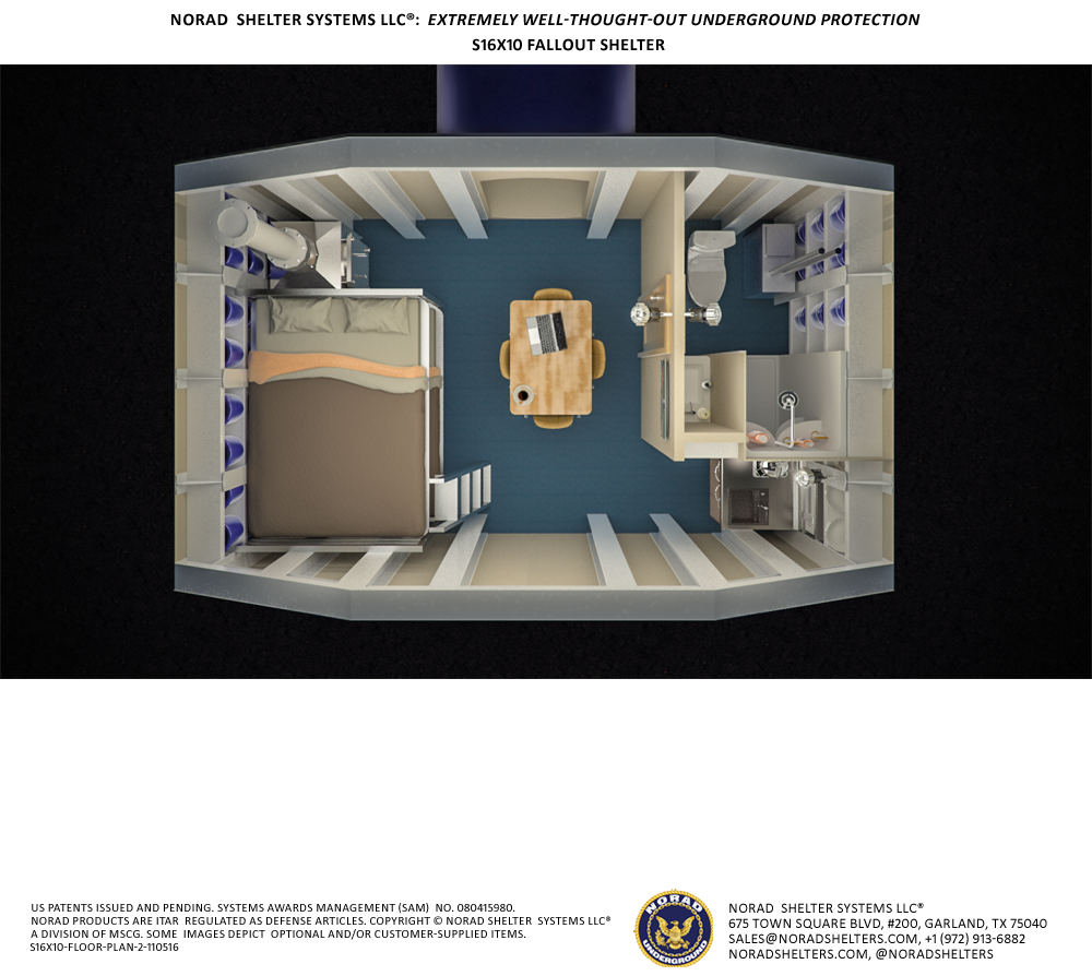 S16x10 bomb shelter view from above floor plan