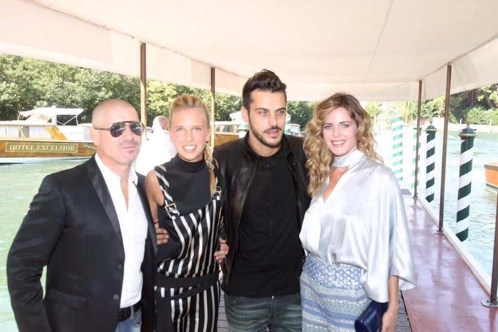 """Marcello Iappelli, Giorgia Marin, Andrea Montovoli and Elisabetta Pellini arrive at the Excelsior Hotel for the """"Infernet"""" press conference during the 72nd Venice Film Festival on September 10, 2015"""