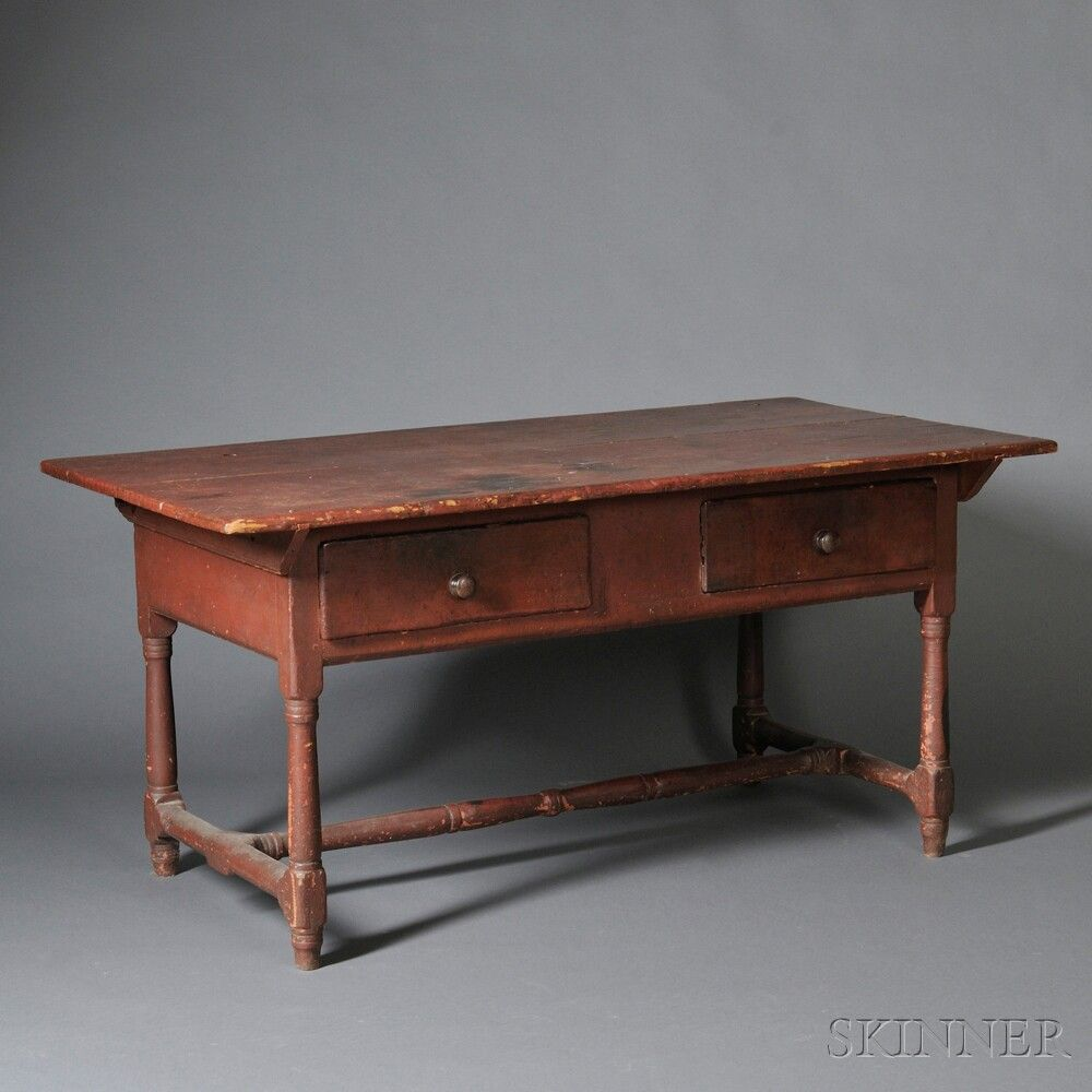 Primitive Kitchen Table And Chairs: Red-painted Pine And Cherry Kitchen Table, Probably