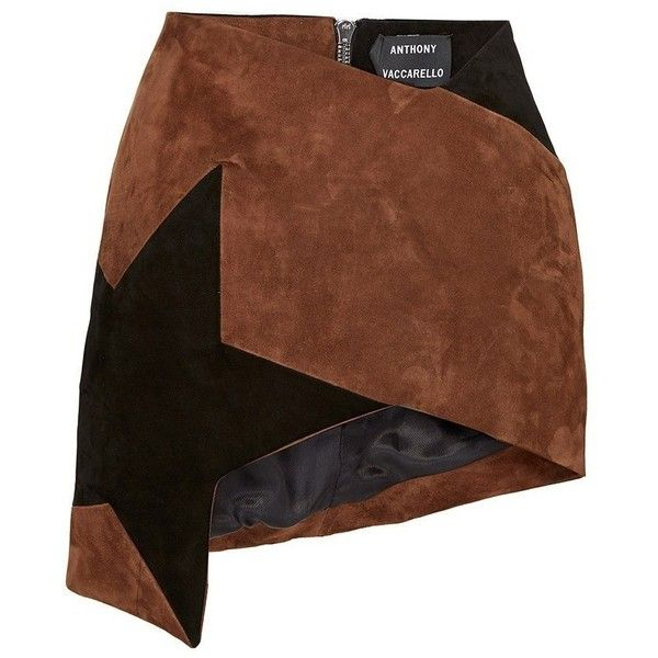 Anthony Vaccarello Brown Colorblock Star Asymmetric Mini Skirt (6.335 BRL) ❤ liked on Polyvore featuring skirts, mini skirts, high waisted pencil skirt, short skirts, short brown skirt, asymmetrical mini skirt and mini skirt