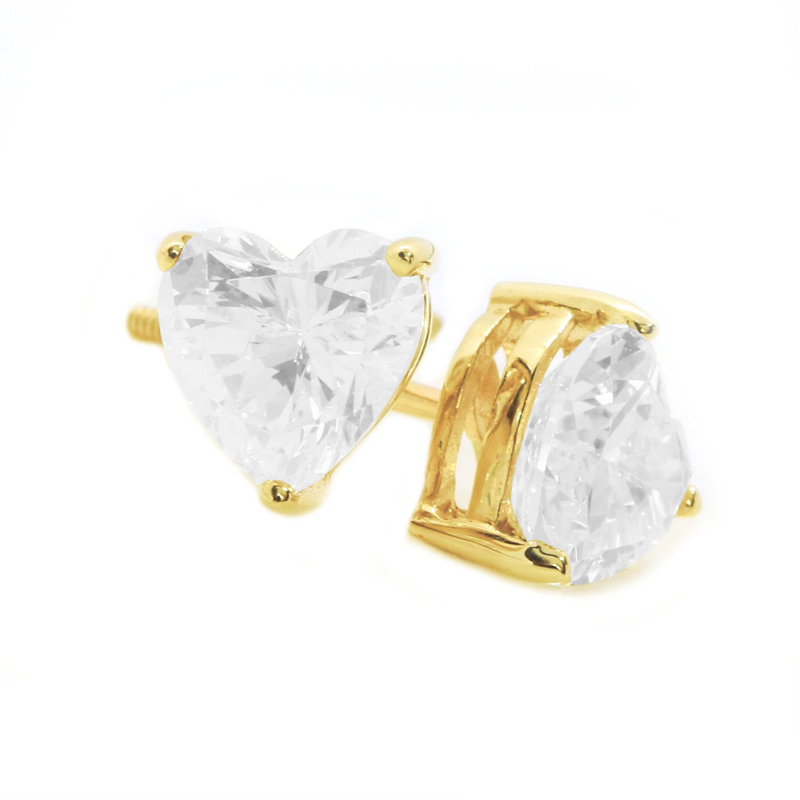 3d75fd4bf 2 Ct Heart Cut Stud Diamond Earrings in Solid 14k 18k Yellow Gold Screw  Back Studs