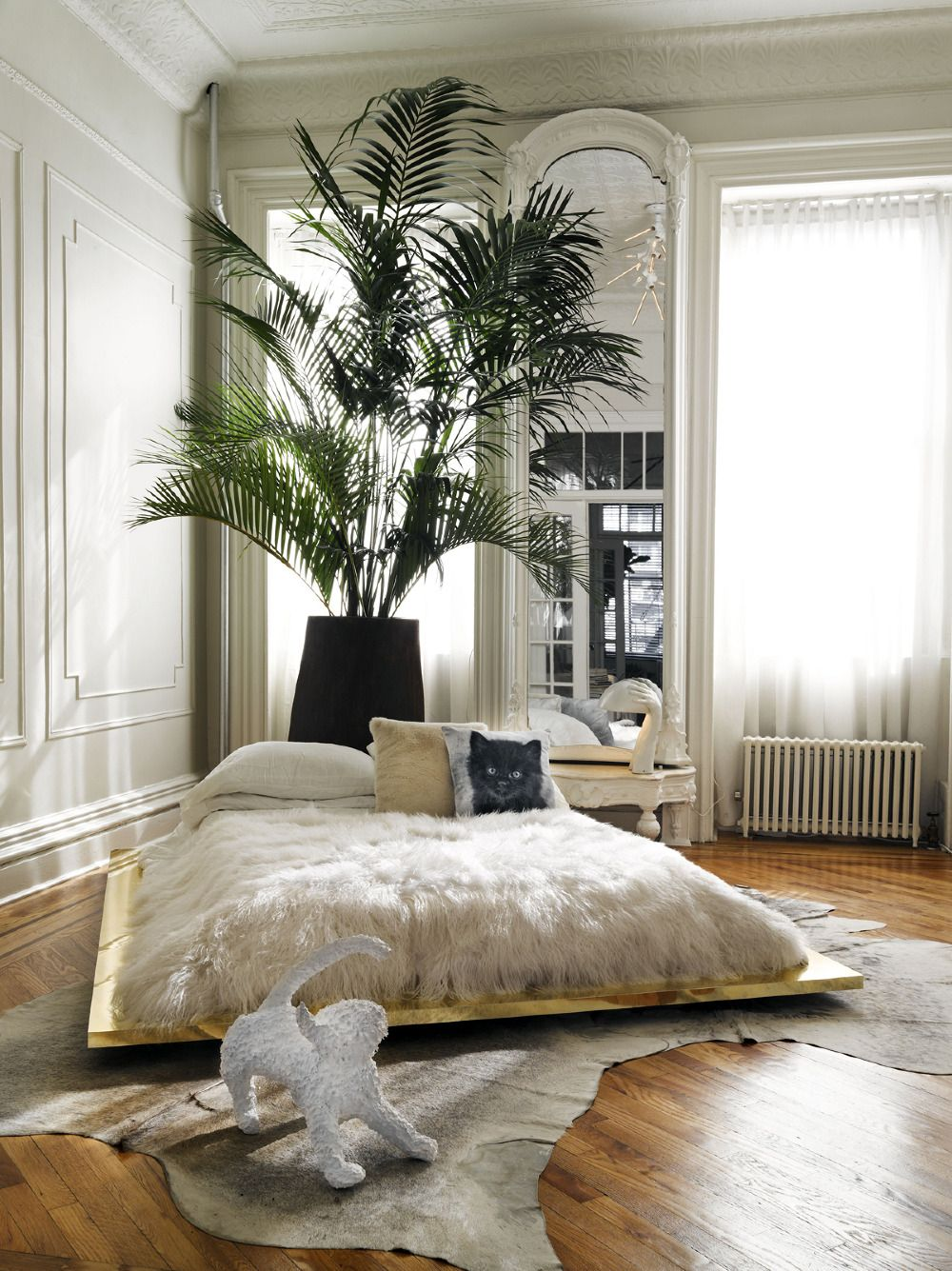 BROOKLYN BROWNSTONE   beautiful glamorous bedroom! Look at the white fur throw and the gold bed