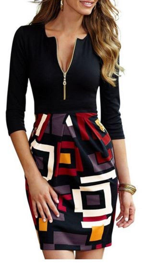 Women Dress A-line Skirt Women Dress Geometry Sleeveless Printing Splice Zipper Polyester Contrast Color Skirt