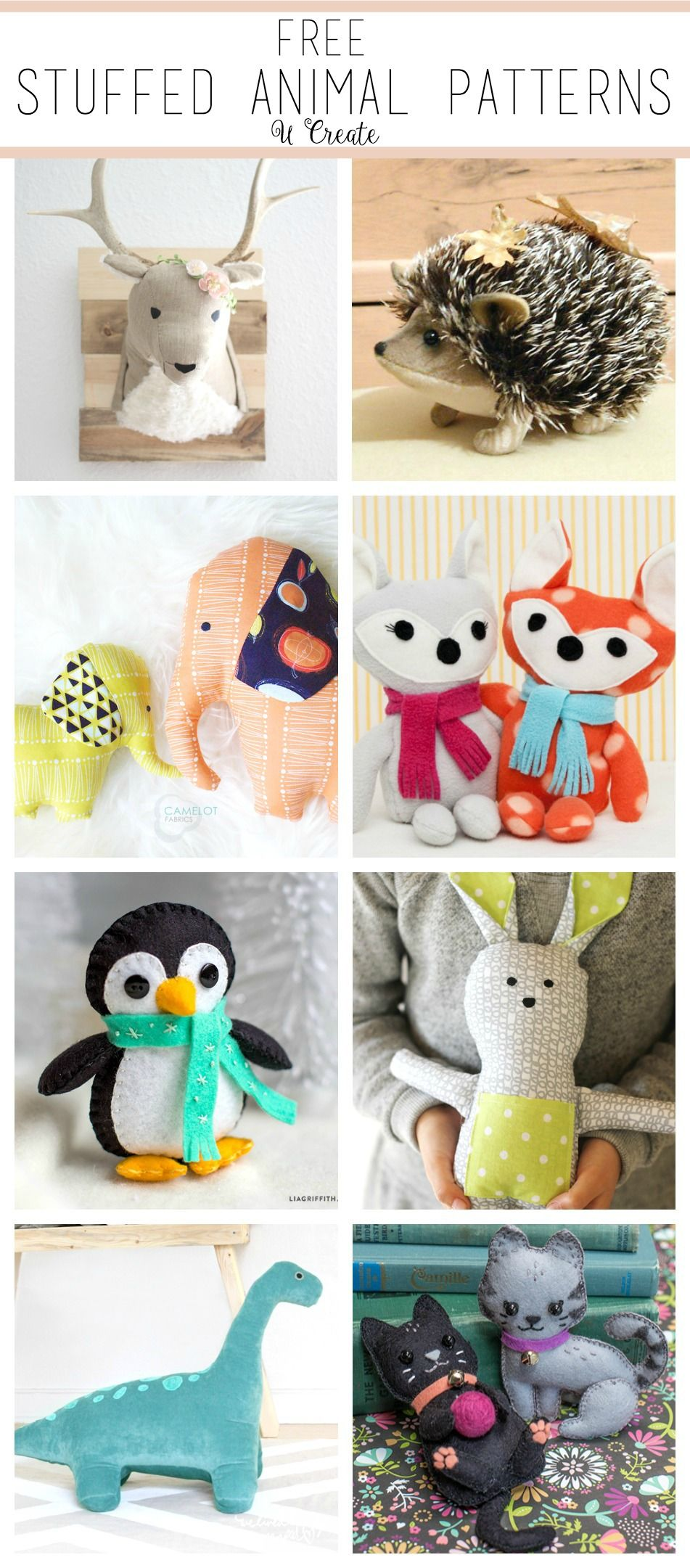 Stuffed Animal Pattern Free : stuffed, animal, pattern, Stuffed, Animal, Patterns, Cutest!, Create, Sewing, Animals,, Patterns,, Projects