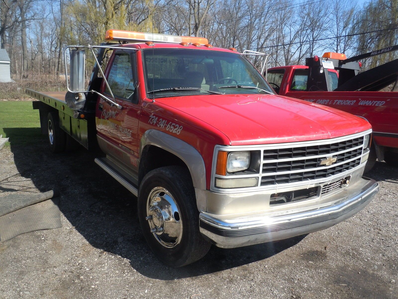 1993 chevrolet tow truck roll back flat bed wrecker turbo diesel for sale