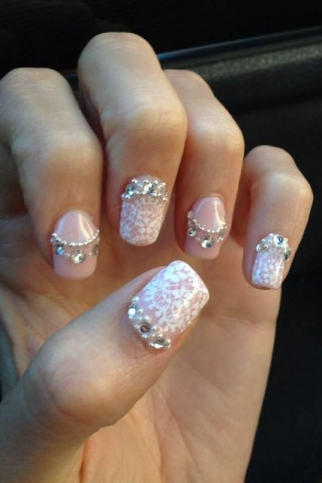 My Lace Bling And Pearl Wedding Nails Ivory Japanese Nail Art Pink Silver N2