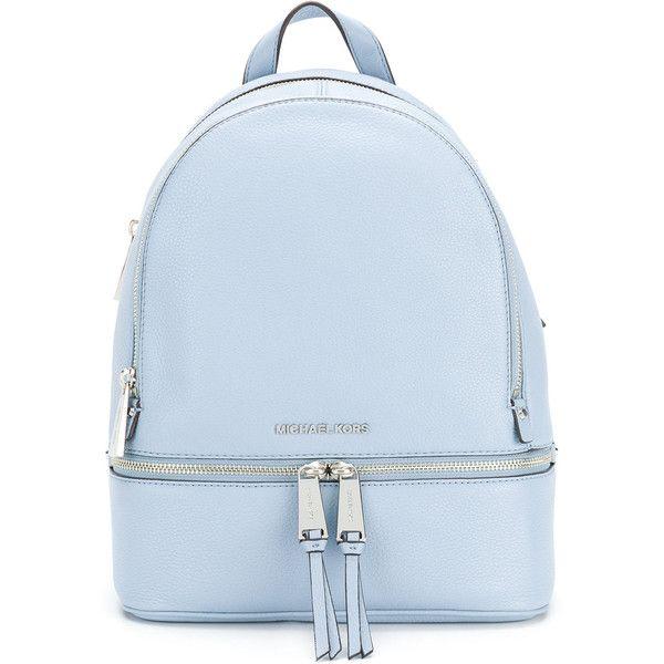 fadc0a6ba259 Michael Michael Kors Rhea large backpack ($360) ❤ liked on Polyvore  featuring bags, backpacks, blue, blue bag, blue backpack, knapsack bag,  pocket backpack ...