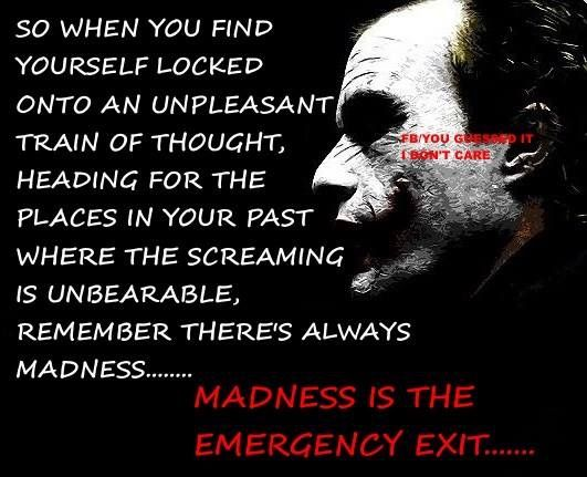 """""""You could just step outside and close the door on all those things that happened. You can lock, them away. Madness, is the emergency exit"""" - the Joker"""