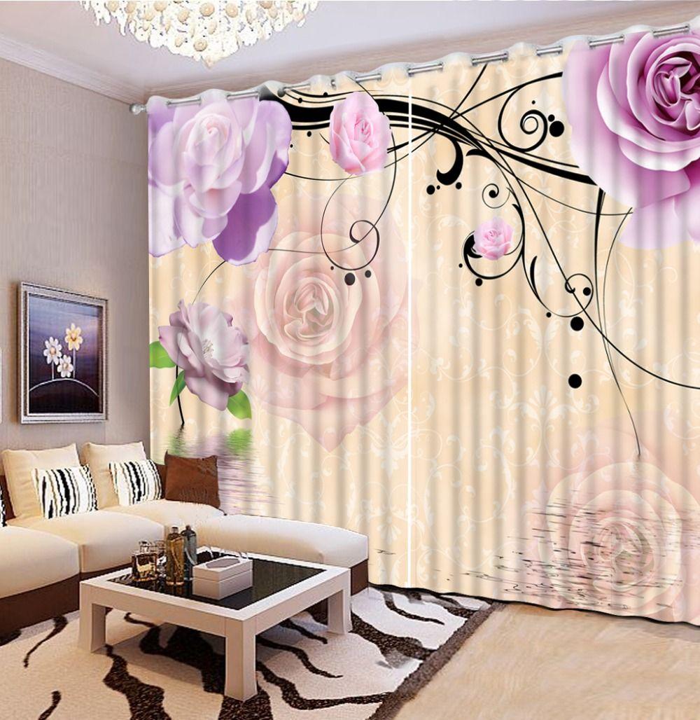 Photo customize size purple flower roses vintage window curtains