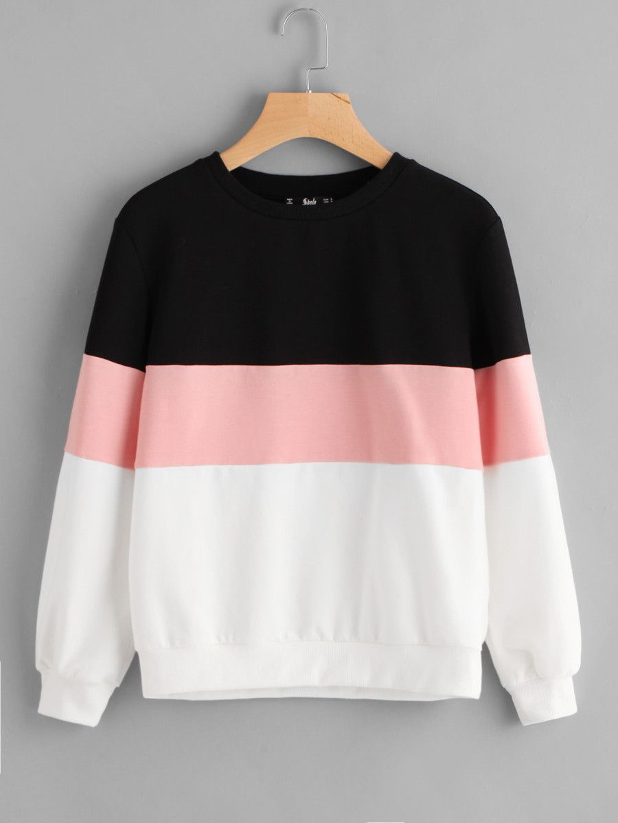 promo code e4046 2f031 Shop Cut And Sew Pullover online. SheIn offers Cut And Sew ...