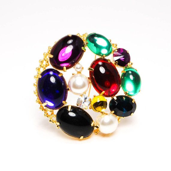 Round Colorful Cabochons and Rhinestone Statement Brooch Shiny Gold Tone Pearl Onyx Red Blue Purple Green
