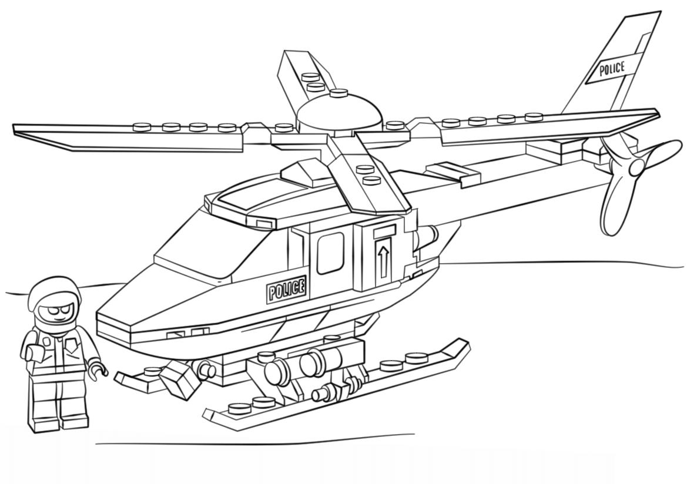 Lego Polizei Hubschrauber Ausmalbilder Kostenlose Malvorlagen