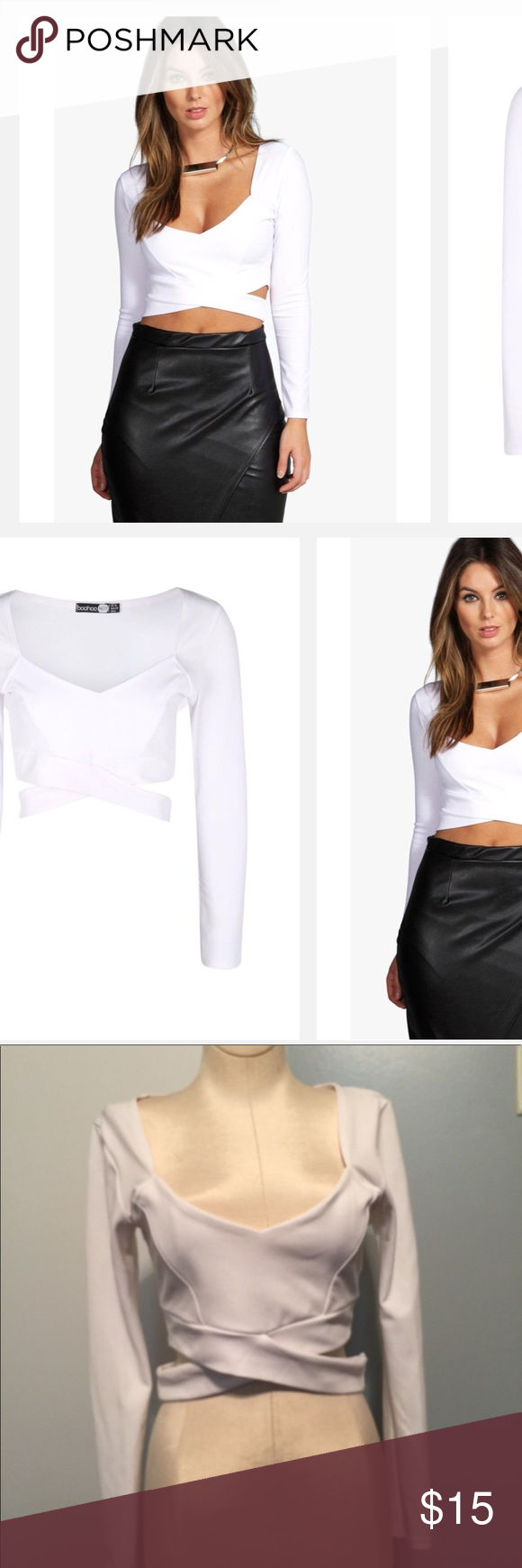9ef54e291b Boohoo sally L S Cut Out Bralet   White Low cut out neck line . Long  sleeves . Band goes around waist .95% polyester