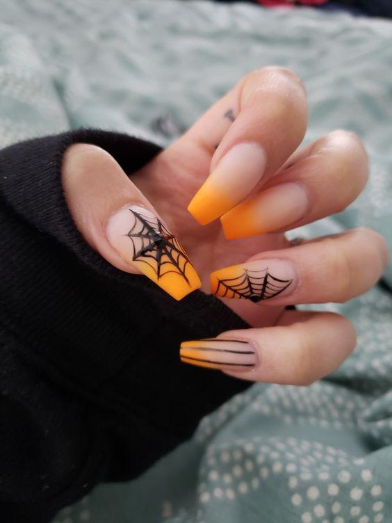 Halloween Stiletto Nails In 2020 Halloween Acrylic Nails Cute Halloween Nails Horror Nails