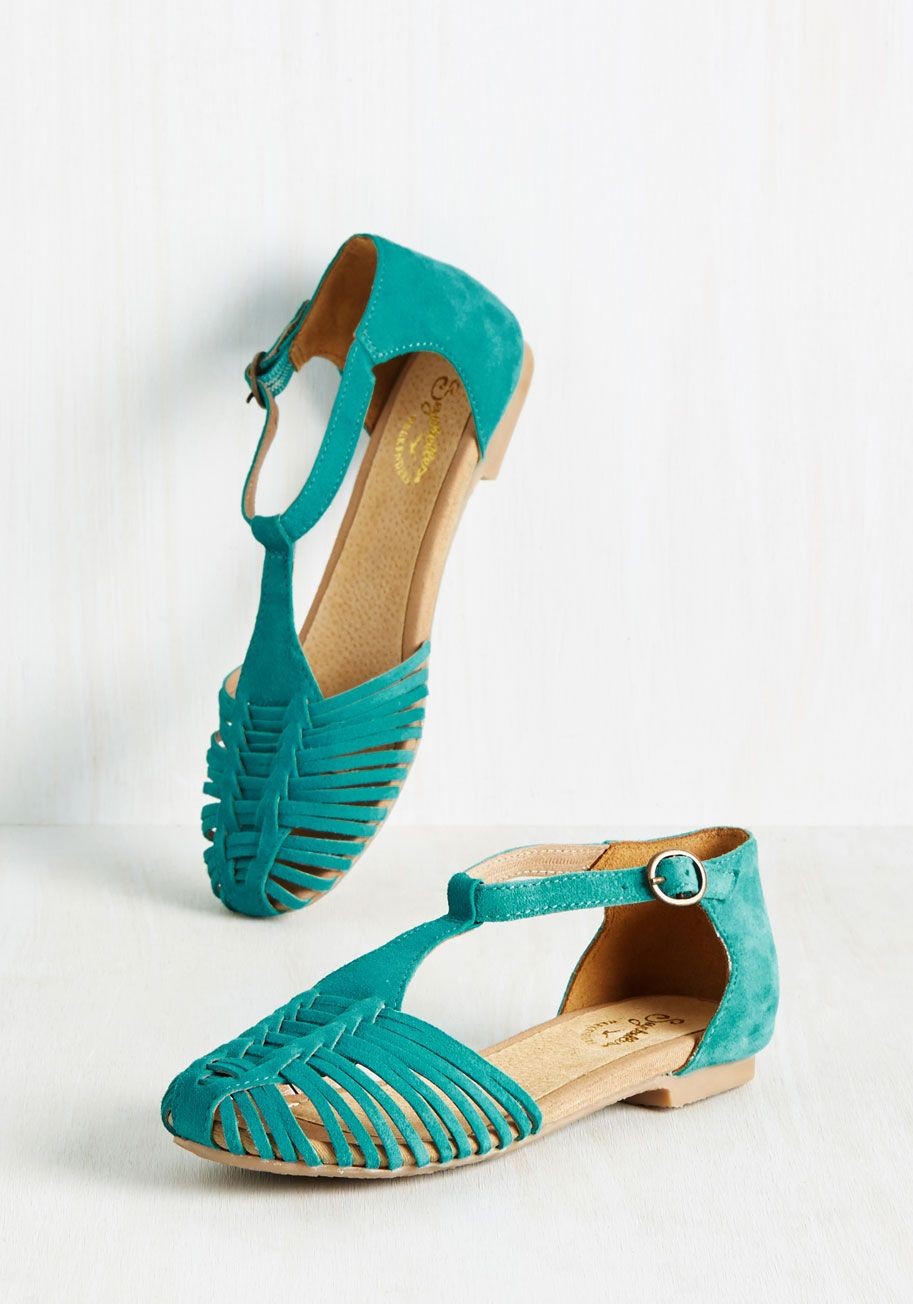 Into Thin Air Flat in Lagoon. You might not peak mountains in these turquoise flats by Seychelles, but their style will ignite an adventurer's spirit in you! #blue #modcloth