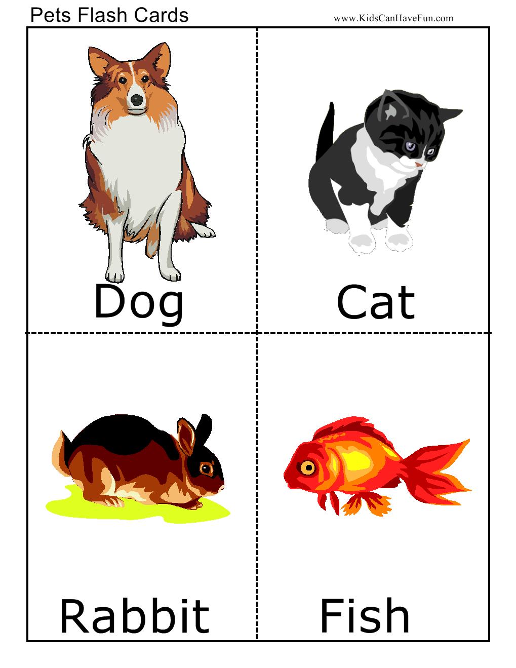 Pets Flashcards Flashcards For Kids Animal Flashcards Flashcards