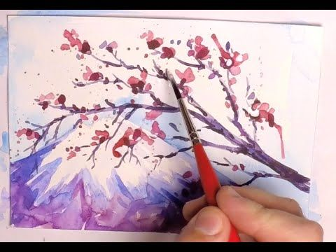 How To Paint A Cherry Blossom Tree Sakura And Mount Fuji Step By Step Wate Cherry Blossom Painting Acrylic Cherry Blossom Watercolor Cherry Blossom Drawing