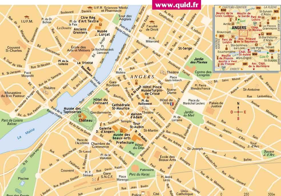 Carte De La Ville De Angers Plan Et Situation Geographique Sur