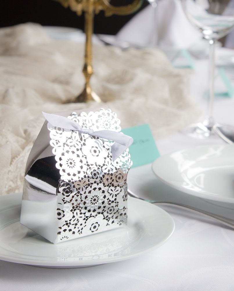 Silver Floral Box | Wedding Favor Boxes | Pinterest | Box, Cardboard ...