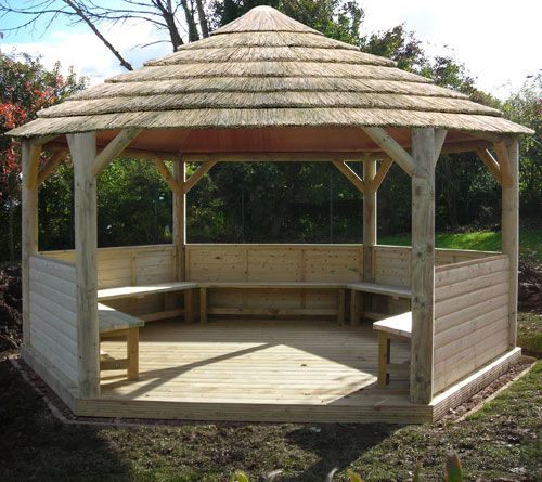 Hexagon gazebo plans emperor hexagonal thatched roof for Large wooden gazebos