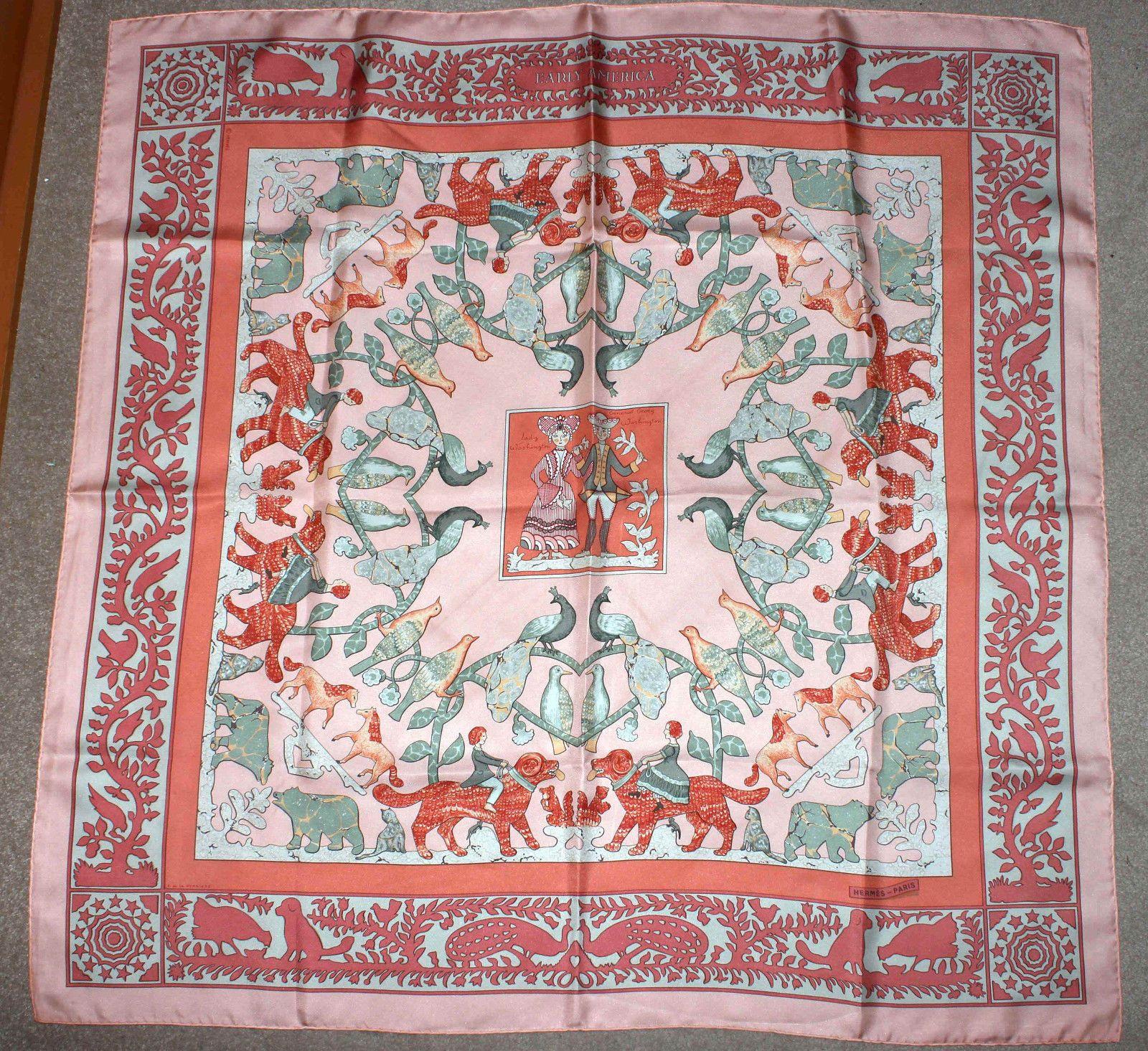 Hermès Seidentuch Silk Scarf Early America Washington F DE LA Perriere    eBay b528dfe39ee