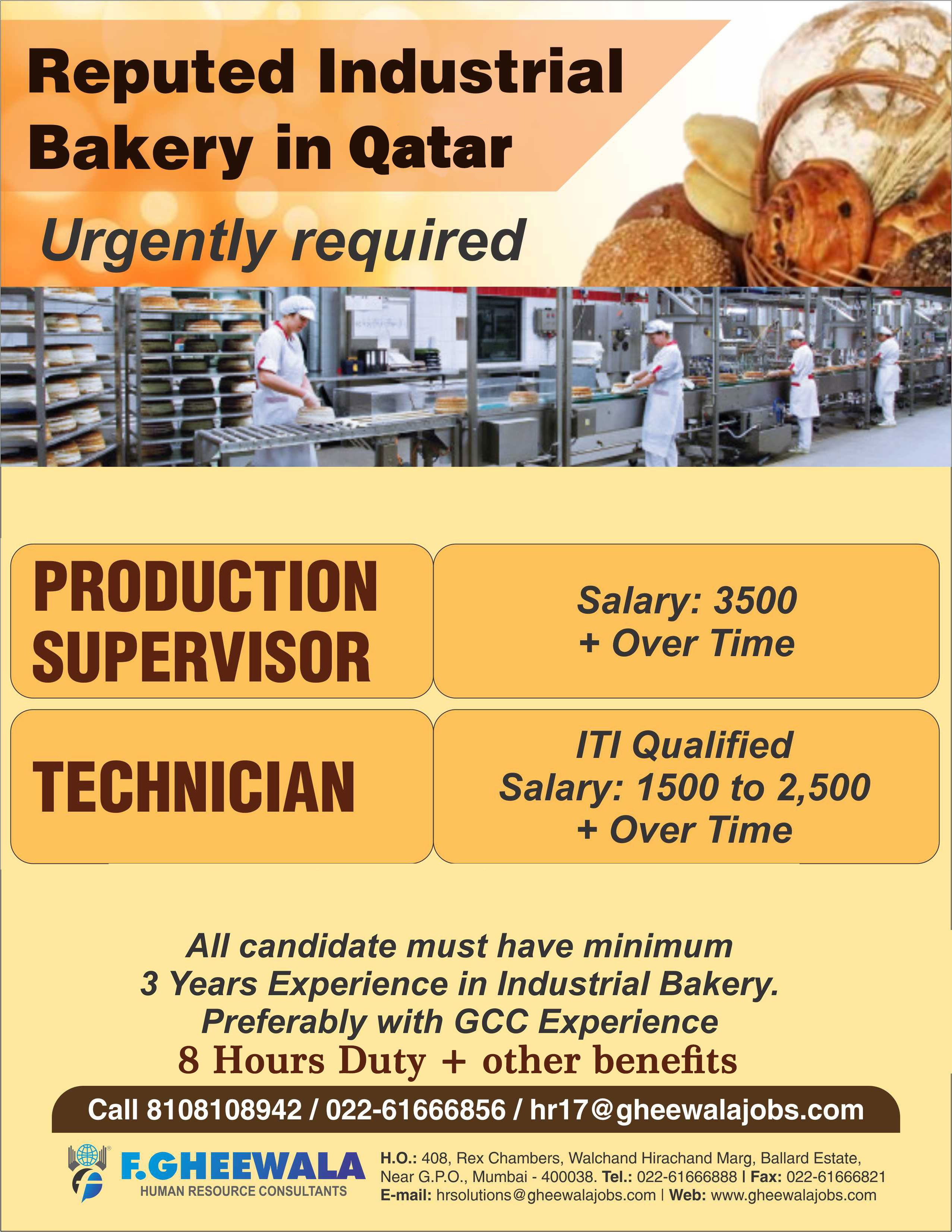 urgently required production supervisor technician for reputed industrial bakery in qatar please see the