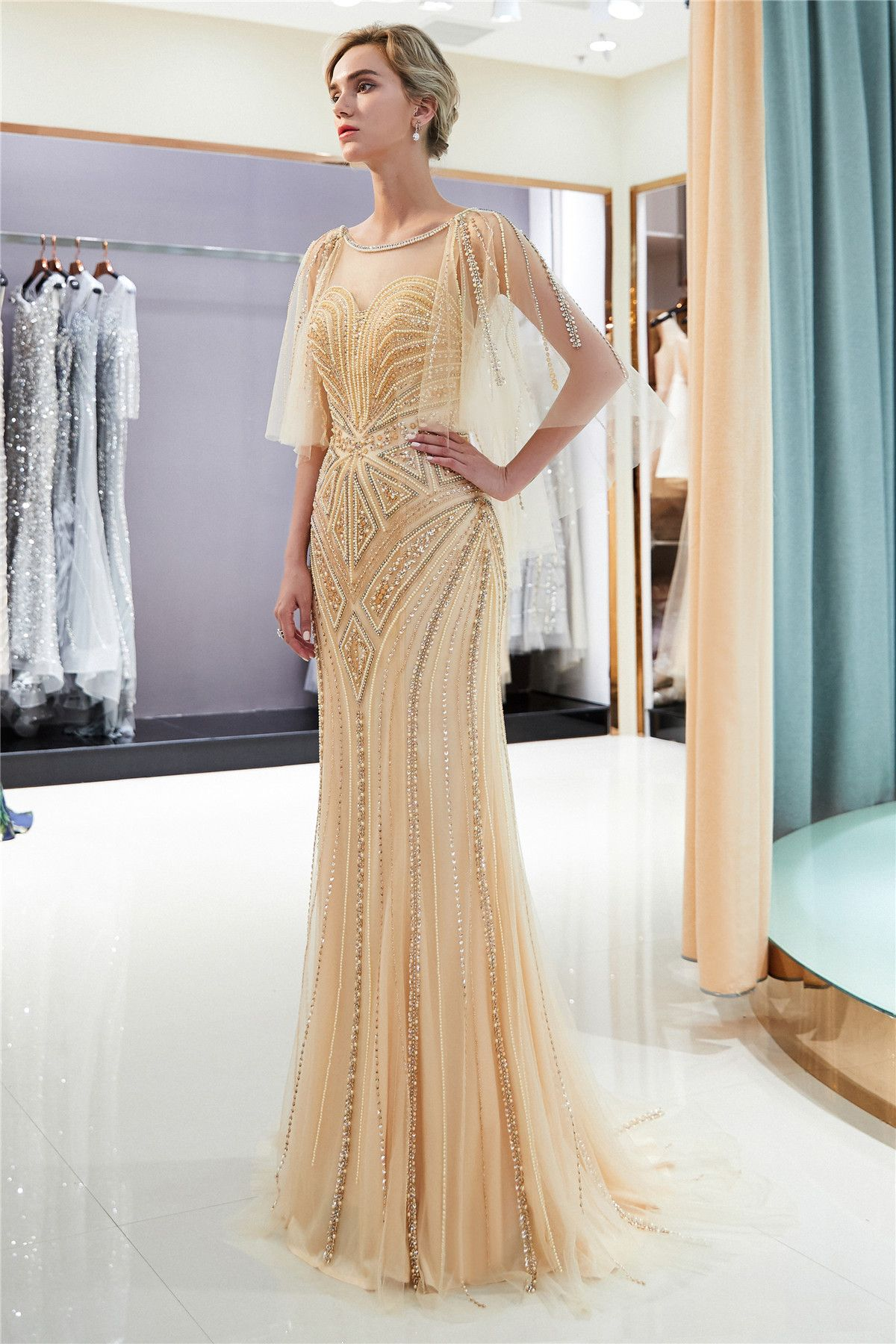6687adf3eb387 Sexy Mermaid Gold Beaded Evening Dresses Party Dresses | >>Elegant ...