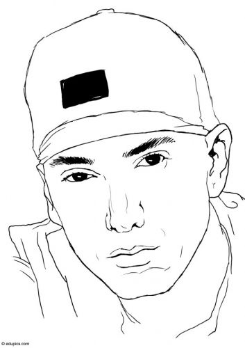 Coloring Page Eminem Img 15392 Eminem Drawing People Coloring Pages Hip Hop Artwork