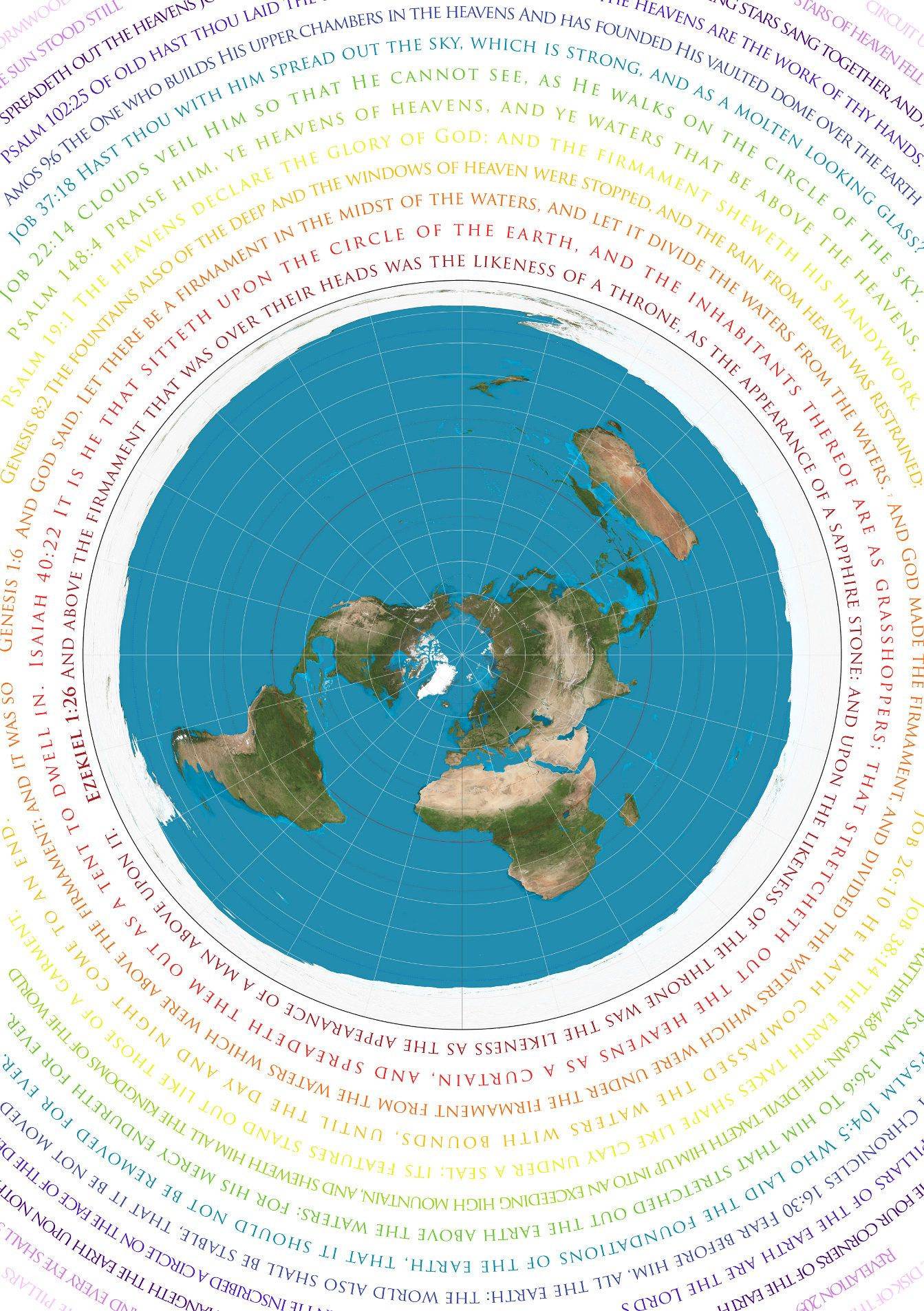 Ramelle France Map.Flat Earth Map Azimuthel Equidistant With Biblical Scripture A1