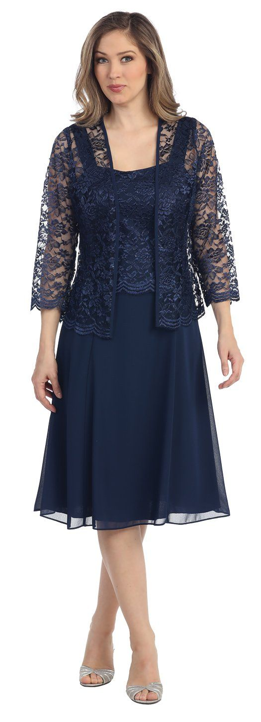 68c7c94d0241 The Dress Outlet Short Mother of the Bride Dress Formal Plus Size Lace  Jacket at Amazon Women's Clothing store: