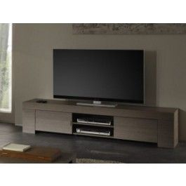 Porta Tv Rovere Grigio.Mobile Porta Tv Moderno L 190 Cm 2 Ante E Vano A Giorno