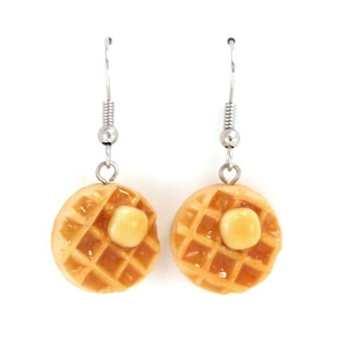 Scented Maple Syrup and Butter on Waffle Earrings - Unscent (save 15%)