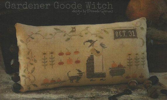 Primitive Cross Stitch Pattern - Gardener Goode Witch