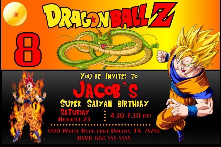 Dragon Ball Z Birthday Invitation