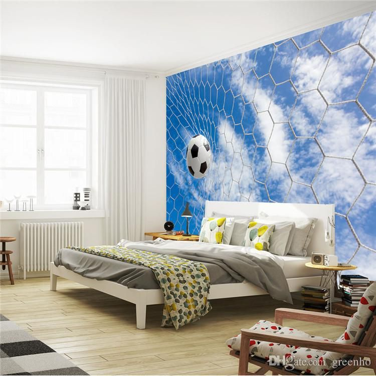 Football & Blue sky photo wallpaper Soccer 3D Wall Mural Custom ...