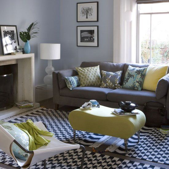 Retro Modern Living Room Blue White Grey Yellow... Brown Couch And Tan Walls