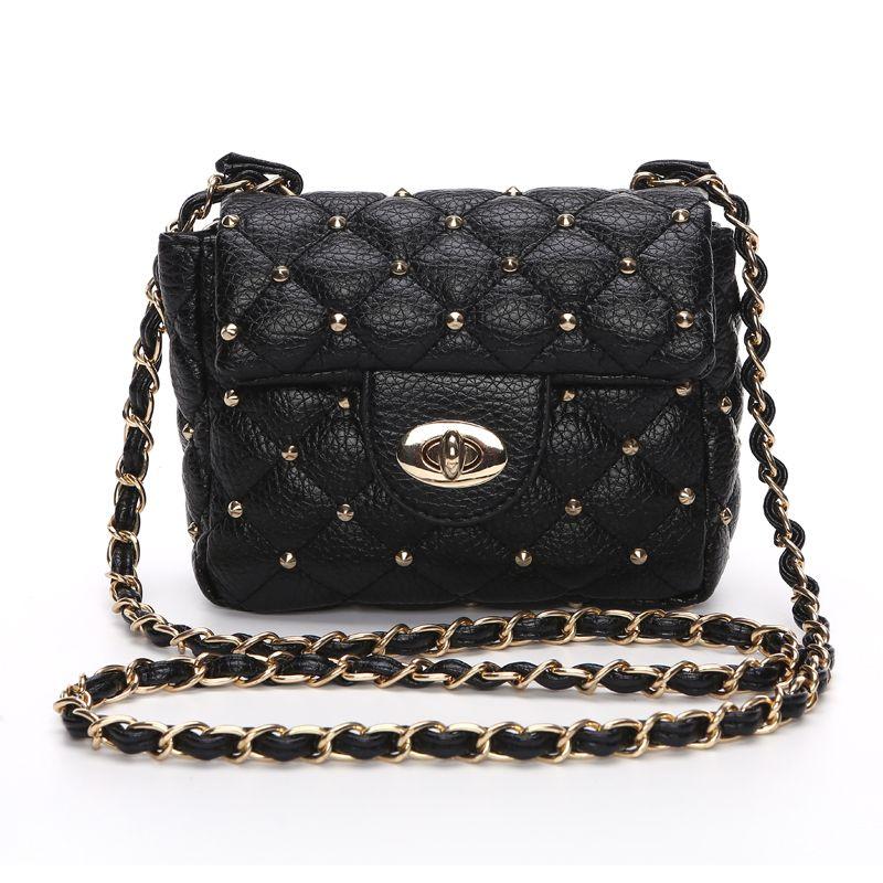 890d6412b227 New 2017 Black Rivet Fashion Women CrossBody Bag Female Shoulder Bags Party  Purse clutch Small Bag Women Messenger Bags DF488