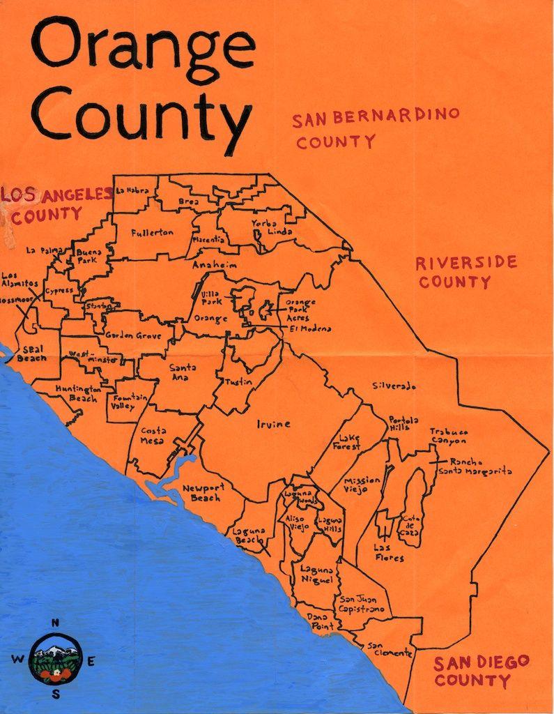 Oil Paint Map Of Orange County Done On Commission San Bernardino County Orange County Dream City