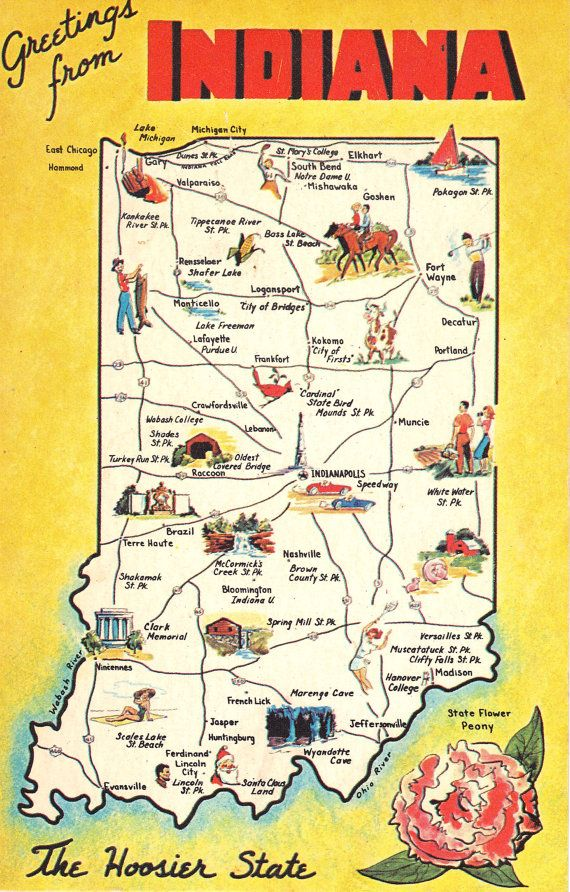 Greetings From Indiana State Map Vintage Postcard Etsy Indiana State State Map Map