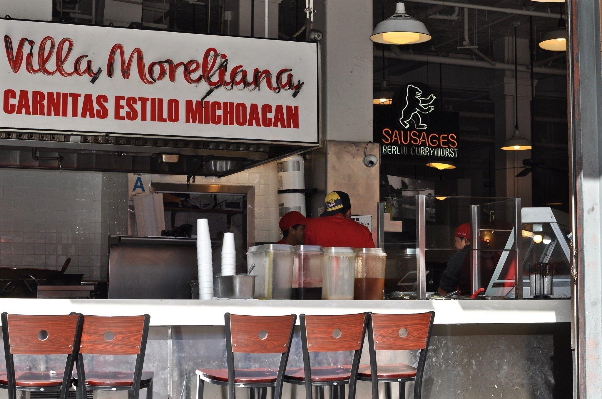 Nighttime Micheladas And Enchiladas At Villa Moreliana In Grand Central Market Central Market Villa Carnitas