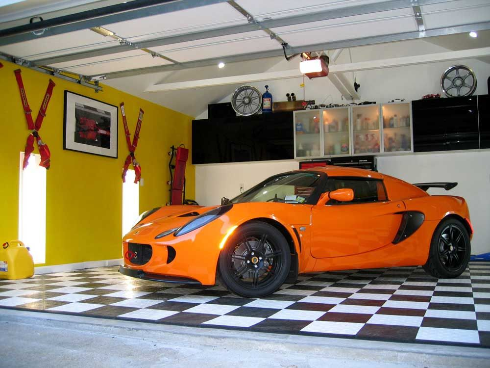Garage Ceramic Tile With Black White Tile And Yellow Wall Color