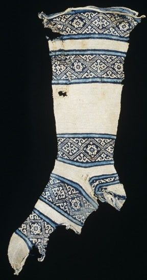 Medieval knitted sock - India (?) Possibly found in Fustat, Egypt Islamic 12th century