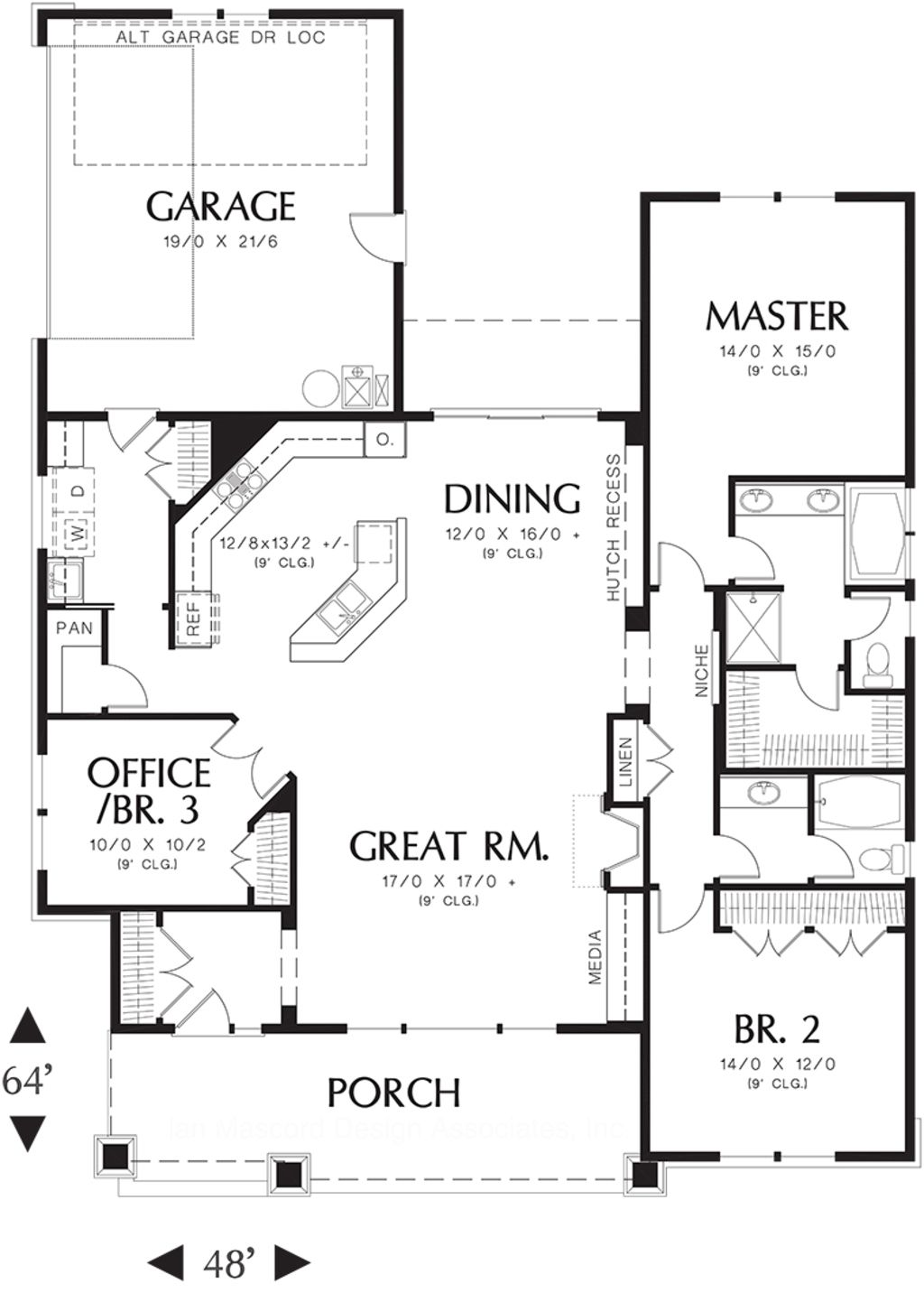 craftsman 3 beds 2 baths 1891 sq ft plan 48 415 main floor plan rh pinterest com 3 bedroom house plans with a loft 3 bedroom house plans on a slab