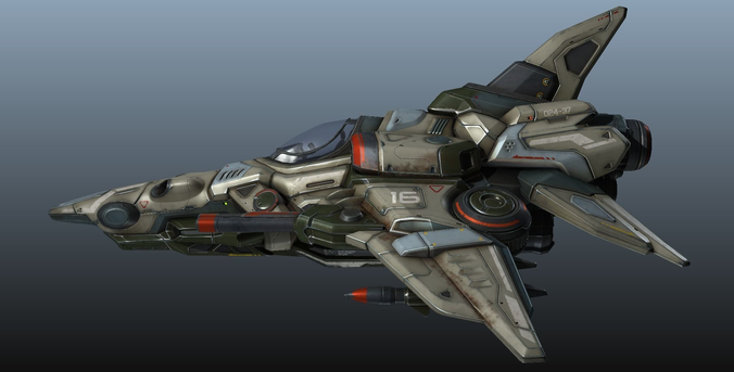 interceptor spaceship - game model 3d model low-poly obj fbx