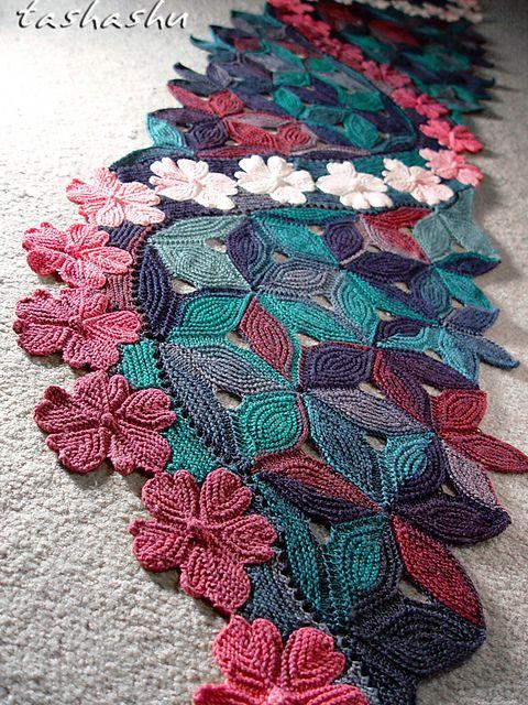 Knitted Scarf Sakura pattern by Svetlana Gordon   Chal, Tejido y ...