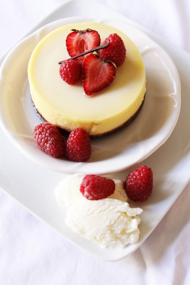 Gourmet Baking: Vanilla Bean Cheesecake with Jellied Cream, Raspberry Gelée, Yogurt Sherbet, and a Giveaway!