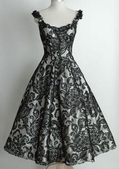Black Vintage Dresses a Line