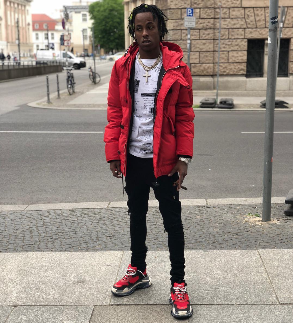 Rich The Kid in 'Venchy   Red and black